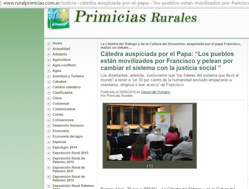 """Primicias Rurales / """"Los pueblos están movilizados por Francisco y pelean por cambiar el sistema con la justicia social """""""