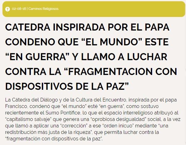 """CATEDRA CONDENO QUE """"EL MUNDO"""" ESTE """"EN GUERRA"""" Y LLAMO A LUCHAR CONTRA LA """"FRAGMENTACION CON DISPOSITIVOS DE LA PAZ"""""""
