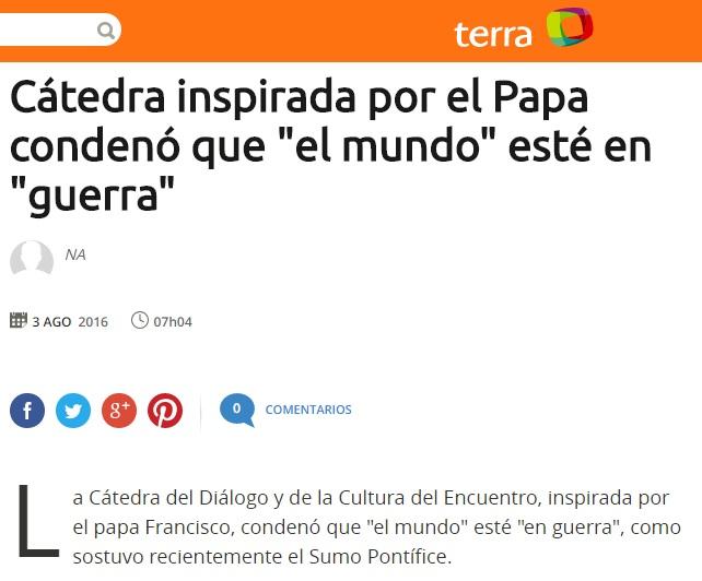"""Cátedra inspirada por el Papa condenó que """"el mundo"""" esté en """"guerra"""""""