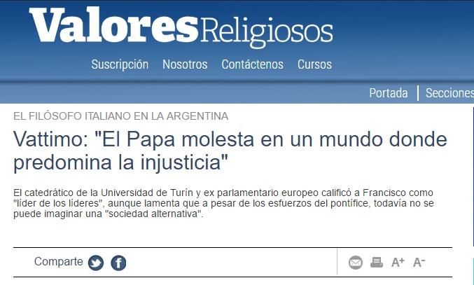 """Vattimo: """"El Papa molesta en un mundo donde predomina la injusticia"""""""