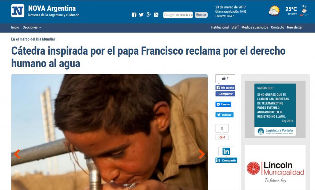 Cátedra inspirada por el papa Francisco reclama por el derecho humano al agua
